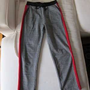 Zara TRF Checker Drawstring Ankle Pants XS/25 New